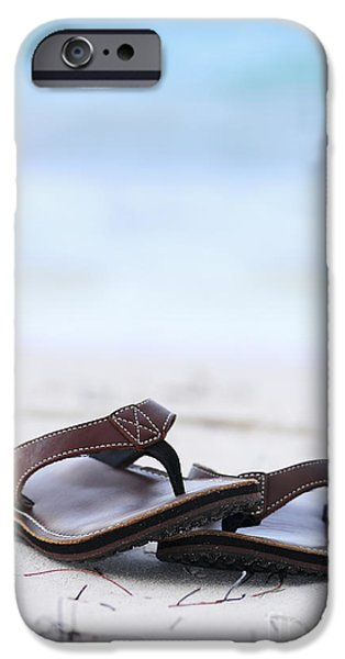 Freedom iPhone Cases - Flip-flops on beach iPhone Case by Elena Elisseeva