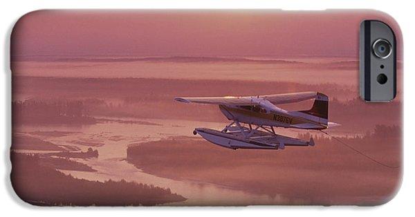 Matanuska iPhone Cases - Floatplane Flying  Sunset Matanuska iPhone Case by Jeff Schultz