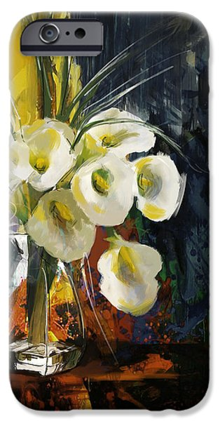 Flowers On Canvas Art iPhone Cases - Floral 6 iPhone Case by Mahnoor Shah
