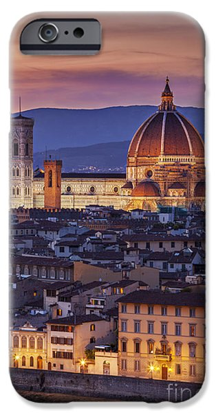 Tuscan Sunset iPhone Cases - Florence Duomo iPhone Case by Brian Jannsen