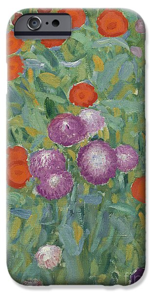 In Bloom Paintings iPhone Cases - Flower Garden iPhone Case by Gustav Klimt