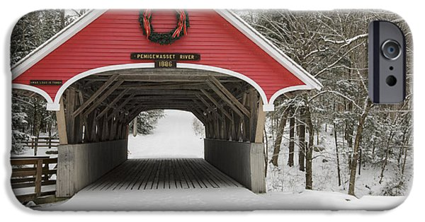 Lincoln iPhone Cases - Flume Covered Bridge - White Mountains New Hampshire USA iPhone Case by Erin Paul Donovan