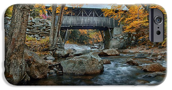 Covered Bridge iPhone Cases - Flume Gorge covered bridge iPhone Case by Jeff Folger