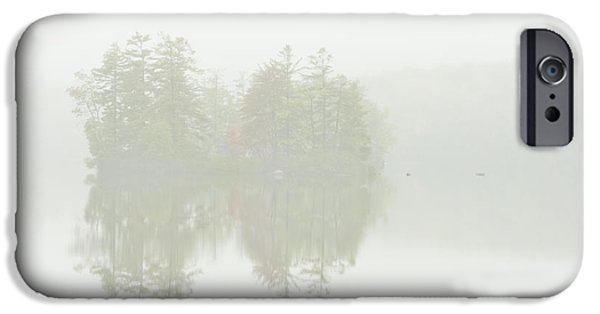 Reflections In Water iPhone Cases - Foggy Weather And Fall Colors on Flying Pond Vienna Maine iPhone Case by Keith Webber Jr
