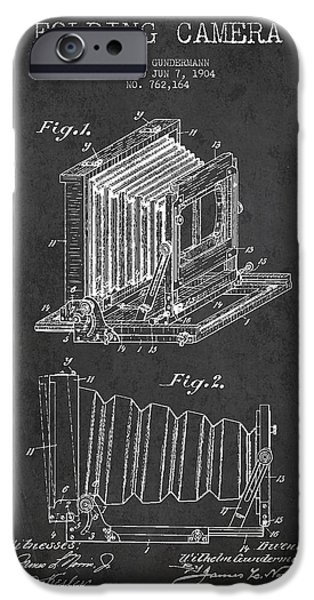 Camera iPhone Cases - Folding Camera Patent Drawing from 1904 iPhone Case by Aged Pixel
