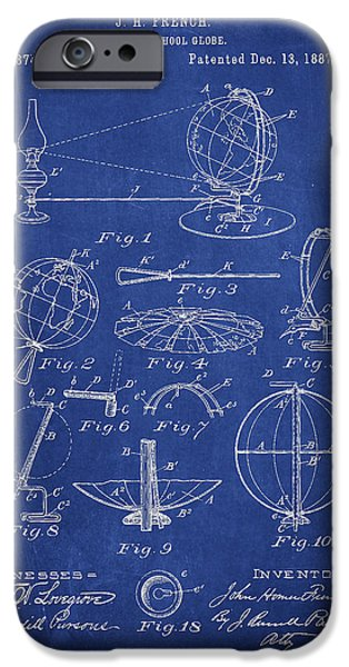 Globe iPhone Cases - Folding School Globe Patent Drawing From 1887 iPhone Case by Aged Pixel