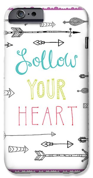 Graphic Design iPhone Cases - Follow Your Heart iPhone Case by Susan Claire