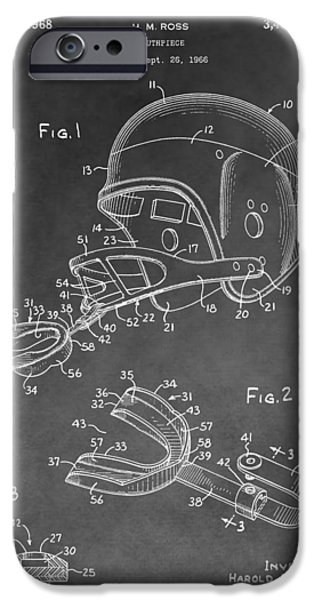 Dentist Drawings iPhone Cases - Football Helmet Patent iPhone Case by Dan Sproul