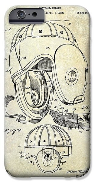 Minnesota iPhone Cases - Football Helmet Patent iPhone Case by Jon Neidert
