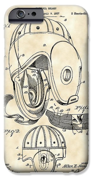 Pro Football iPhone Cases - Football Helmet Patent 1927 - Vintage iPhone Case by Stephen Younts