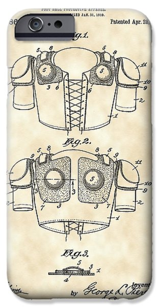 Pro Football iPhone Cases - Football Shoulder Pads Patent 1913 - Vintage iPhone Case by Stephen Younts