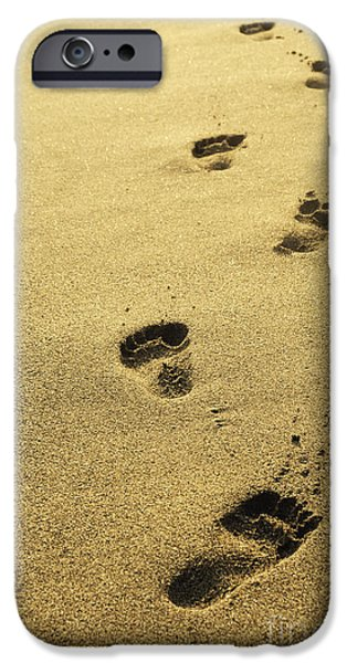Beach Pyrography iPhone Cases - Footprints in the sand iPhone Case by Jelena Jovanovic