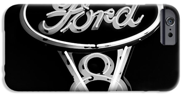 Ford V8 iPhone Cases - Ford V8 Neon Sign iPhone Case by Jill Reger
