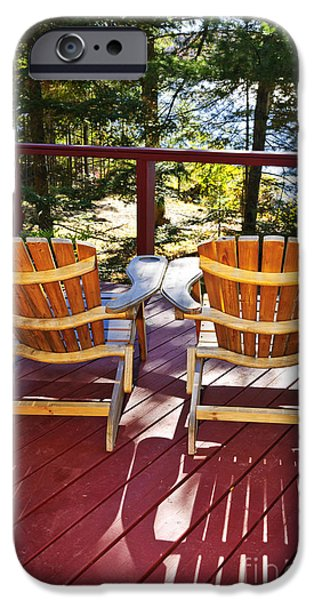 Board iPhone Cases - Forest cottage deck and chairs iPhone Case by Elena Elisseeva