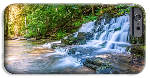 Forest iPhone Cases - Forest stream and waterfall iPhone Case by Alexey Stiop