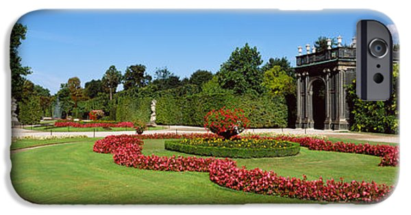 Garden Scene iPhone Cases - Formal Garden In Front Of A Building iPhone Case by Panoramic Images