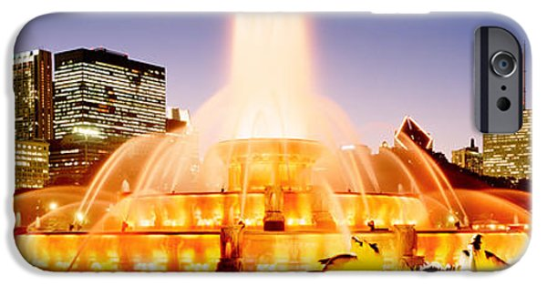 Finance iPhone Cases - Fountain Lit Up At Dusk, Buckingham iPhone Case by Panoramic Images