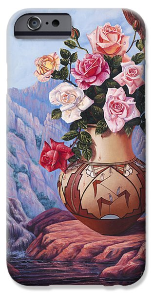 Pottery Paintings iPhone Cases - Fragrance and Dew iPhone Case by Ricardo Chavez-Mendez