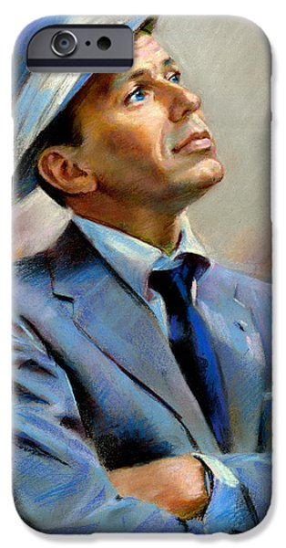 Gold Pastels iPhone Cases - Frank Sinatra  iPhone Case by Ylli Haruni