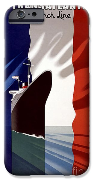 Fashion Design Art iPhone Cases - French Line Vintage Travel Poster iPhone Case by Jon Neidert