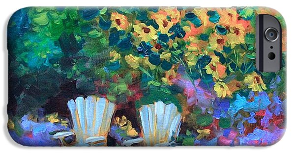 Impressionistic Landscape Paintings iPhone Cases - French Rest Stop iPhone Case by Nancy Medina
