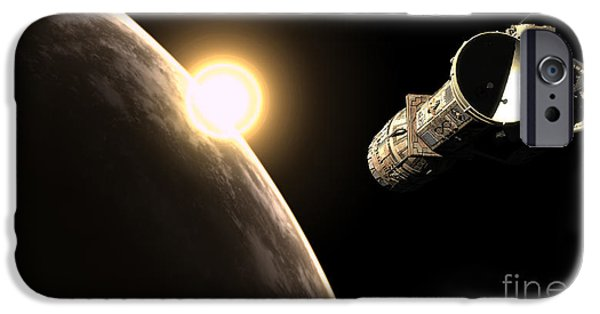 Copy Machine Digital Art iPhone Cases - Frenchbulgarian Orbital Weapons iPhone Case by Rhys Taylor