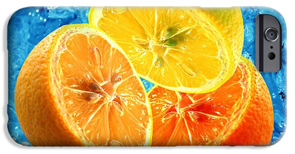 Lemon Drops iPhone Cases - Fresh citrus background iPhone Case by Michal Bednarek
