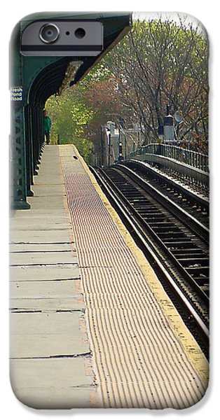 Stripes iPhone Cases - Fresh Pond Rd Station iPhone Case by Mieczyslaw Rudek