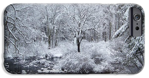 New England Snow Scene iPhone Cases - FRESH SNOW Falls Along The Tree Lines Stream iPhone Case by Eunice Miller