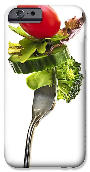 Fresh vegetables on a fork iPhone Case by Elena Elisseeva