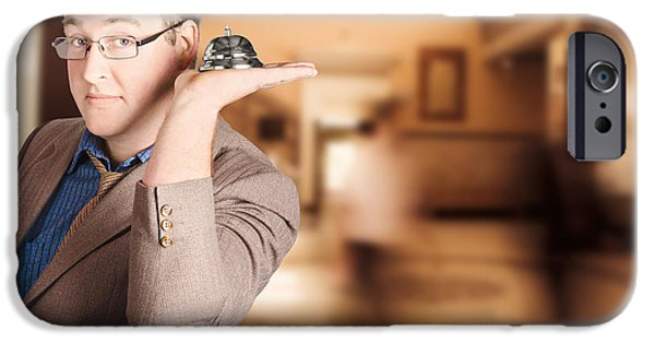 Consult iPhone Cases - Friendly store manager holding help desk bell iPhone Case by Ryan Jorgensen