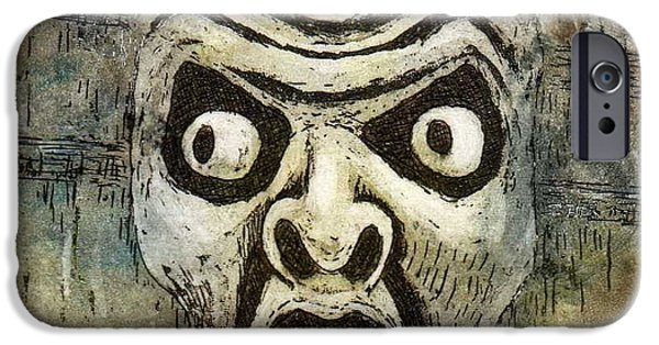 Old Reliefs iPhone Cases - Fright iPhone Case by Suzette Broad