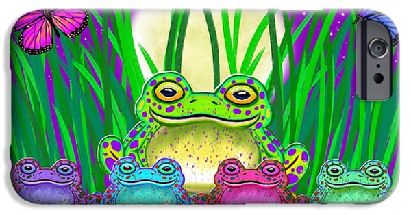 Amphibians Digital Art iPhone Cases - Frog Family iPhone Case by Nick Gustafson