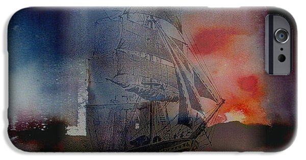 Tall Ship Mixed Media iPhone Cases - From out of the sunset iPhone Case by Val Byrne