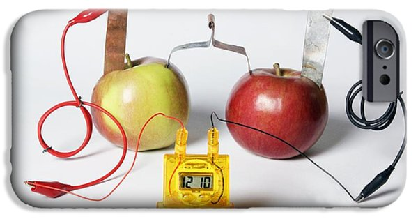 Electrical Equipment iPhone Cases - Fruit-powered Clock iPhone Case by Friedrich Saurer