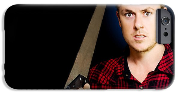Diy iPhone Cases - Frustrated angry man brandishing a saw iPhone Case by Ryan Jorgensen