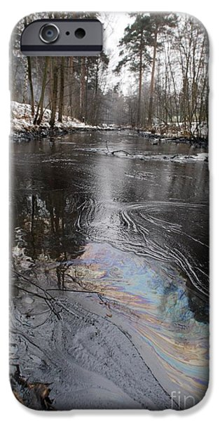 Oil Slick iPhone Cases - Fuel Oil Spill In A River iPhone Case by RIA Novosti