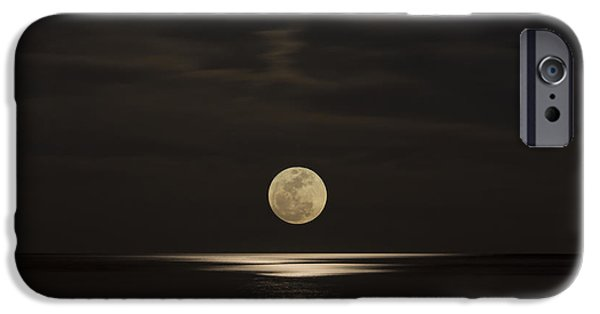 Sea Moon Full Moon iPhone Cases - Moon Rising Over the Gulf iPhone Case by Gej Jones