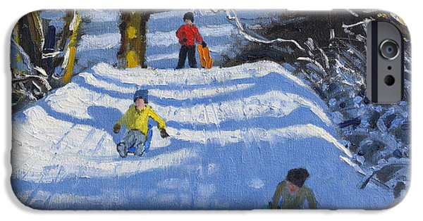 Winter Sports Paintings iPhone Cases - Fun in the snow iPhone Case by Andrew Macara