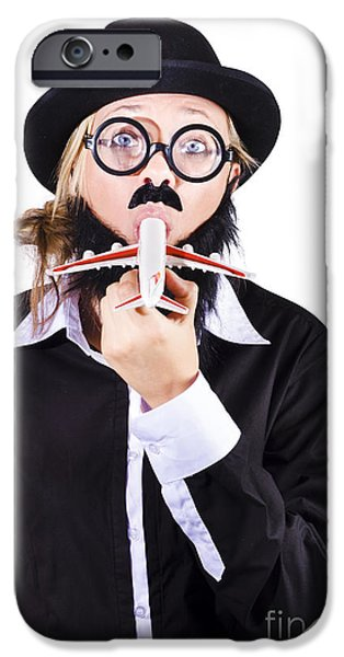 Abnormal iPhone Cases - Funny woman eating toy plane iPhone Case by Ryan Jorgensen