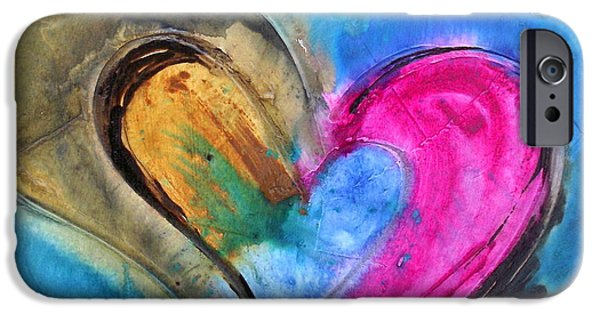 Christian work Paintings iPhone Cases - Fusion de amor iPhone Case by Ivan Guaderrama