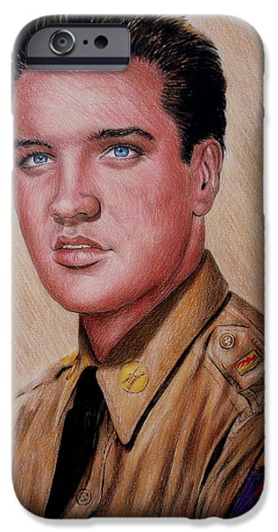 Uniform Drawings iPhone Cases - G I Elvis  iPhone Case by Andrew Read