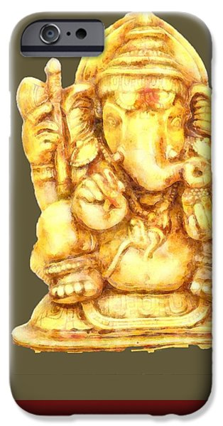 Elephants iPhone Cases - Ganesh iPhone Case by Amar Singha