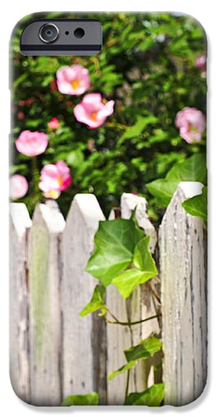 Garden fence with roses iPhone Case by Elena Elisseeva