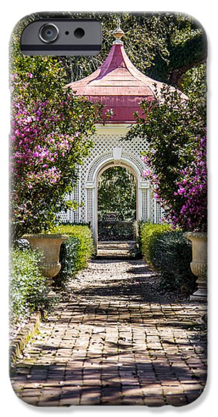 Old Digital Art iPhone Cases - Garden Path iPhone Case by Perry Webster