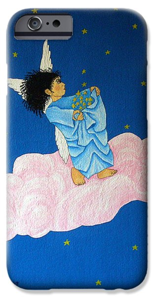 Night Angel Mixed Media iPhone Cases - Gathering Starlight iPhone Case by Pamela Allegretto