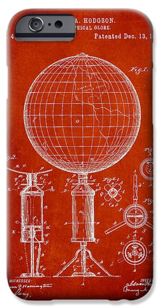 Globe iPhone Cases - Geographical Globe Patent Drawing From 1892 iPhone Case by Aged Pixel