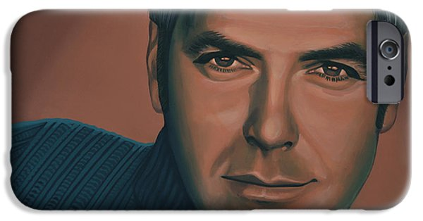 Michael Paintings iPhone Cases - George Clooney iPhone Case by Paul  Meijering