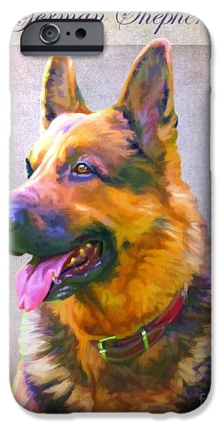 Cute Puppy Pictures Digital Art iPhone Cases - German Shepherd Portrait iPhone Case by Iain McDonald