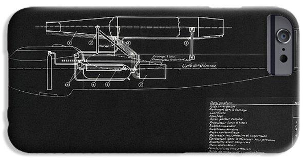 Sanger iPhone Cases - German Wwii Ramjet Bomber Blueprint iPhone Case by Detlev van Ravenswaay